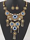 Women\'s European Style Fashion Simple Vintage Metal Tassel Exaggerated Eye Necklace Earrings Set