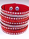 Femme Bracelets Bracelets en cuir Cuir Strass Imitation de diamant Alliage Mode Boheme Adorable Forme GeometriqueViolet Cafe Rouge Bleu