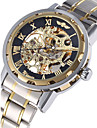 WINNER® Men\'s Watch Automatic Self-winding Hollow Engraving Mechanical Golden Skeleton Stainless Steel Cool Watch Unique Watch Fashion Watch