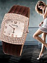 Dames Modieus horloge Gesimuleerd Diamant Horloge Kwarts Vrijetijdshorloge imitatie Diamond Leer Band Bedeltjes Zwart Wit Zilver RoodWit
