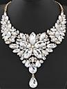 Women\'s Statement Necklaces Bib necklaces Flower Gemstone Resin Fashion European Luxury Elegant Gray Rose Red Light ewelry Wedding Party Valentine