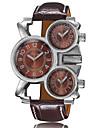 Мужской Спортивные часы Кварцевый С тремя часовыми поясами Натуральная кожа Группа Повседневная Черный марка