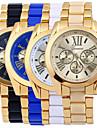 Men\'s Gold Alloy Band White Case Analog Quartz Fashion Dress Casual Watch