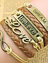 leather Charm BraceletsUnisex Multilayer Leather Bracelet Believe & Dream & Love inspirational bracelets Jewelry Christmas Gifts