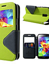 For Samsung Galaxy Case Card Holder / with Stand / with Windows / Flip Case Full Body Case Solid Color PU Leather SamsungS6 edge plus /