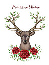 Sika Deer Rose Flower Wall Stickers Fashion Cartoon Living Room Wall Decals