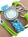 Women\'s Kids\' Fashion Watch Bracelet Watch Dual Time Zones / Quartz Japanese Quartz PU Band Heart shape Bohemian CasualBlack White Green