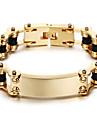 Homens Pulseiras em Correntes e Ligacoes Personalizado Classico bijuterias Aco Inoxidavel Chapeado Dourado 18K ouro Forma Geometrica Joias