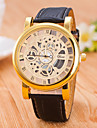 Casual Men\'s Wrist Watch Skeleton Imitation Mechanical Watch For Women Top Brand Quartz Watches Pu Leather Band