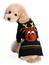 Cat Dog Sweater Black Dog Clothes Winter Spring/Fall Reindeer Cute Holiday Christmas
