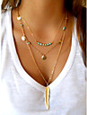 Women\'s Pendant Necklaces Layered Necklaces Wings / Feather Feather Turquoise Alloy Basic Simple Style European Sequins Personalized
