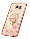 For Samsung Galaxy S7 Edge Rhinestone / Plating / Ring Holder / Transparent / Pattern Case Back Cover Case Flower TPU SamsungS7 edge / S7