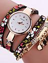 Women\'s Fashion Watch Wrist watch Bracelet Watch Colorful Quartz PU Band Vintage Flower Bohemian Charm Bangle Cool Casual Multi-Colored Strap Watch