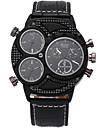 Oulm Men\'s Military Watch Wrist watch Quartz Three Time Zones PU Band Cool Casual Black