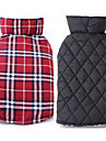 Dog Coat Vest Red Green Brown Beige Dog Clothes Winter Spring/Fall Plaid/Check Reversible Keep Warm