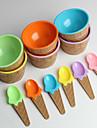детские пластиковые мороженое чаши ложки установить прочный мороженого чашку (случайный цвет)