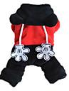 Cachorro Macacao Roupas para Caes Fofo Casual Animal Preto/Vermelho