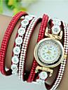 Femme Bracelet de Montre Quartz Strass Imitation de diamant Cuir Bande Charme Noir Blanc Bleu Rouge Rose Violet Beige Rouge RoseRouge