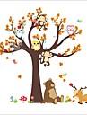 Wall Stickers Wall Decals Style Cartoon Aanimal Owl Monkey Big Tree PVC Wall Stickers