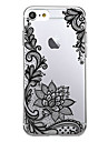 For Ultra Thin Transparent Pattern Back Cover Case Black Lace Printing Soft TPU for iPhone 7 Plus 7 6s Plus 6 Plus SE 5s 5