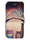 Для Кошелек Бумажник для карт со стендом Флип Рельефный С узором Кейс для Чехол Кейс для Сова Твердый Искусственная кожа для AppleiPhone