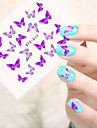 5pcs/set Romantic Purple Butterfly Nail Art Water Transfer Decals Lovely Butterfly Design For Nail DIY Beauty STZ-017