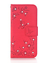 Для Кошелек Бумажник для карт Стразы со стендом Флип Рельефный С узором Магнитный Кейс для Чехол Кейс для Бабочка ТвердыйИскусственная