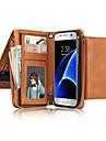 용 지갑 카드 홀더 플립 케이스 풀 바디 케이스 단색 소프트 천연 가죽 용 Samsung S7 edge S7 S6 edge S6 S5