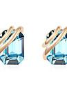 Brincos Curtos Cristal Personalizado Euramerican Estilo simples Dourado Azul Escuro Azul Joias Para Casamento Festa Aniversario 1 par