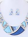 여성용 보석 세트 의상 보석 패션 Euramerican 합금 Geometric Shape 1 목걸이 1 쌍의 귀걸이 제품 파티 일상 결혼 선물