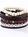 Муж. Кожаные браслеты Кожа Резина Винтаж Панк Круглой формы Черный Бижутерия 1шт