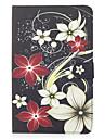 Pour samsung galaxy tab e 9.6 couverture de boitier motif de fleurs carte peinte portefeuille stent pu materiel de peau coquille de