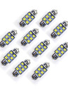 10 PCS 31 mm 6 * 2835 SMD LED Car Light Bulb White Light DC12V