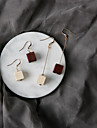 Drop Earrings Euramerican Fashion Wood Alloy Square Brown White Jewelry For Party Daily 1 Pair