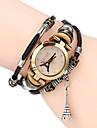 Women Premium Genuine Leather Watch Triple Bracelet Watch Tower Charm Wristwatch Fashion Para Femme