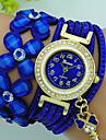 Mulheres Bracele Relogio Quartzo Strass Couro Banda Flor Boemio Preta Azul Vermelho Marrom