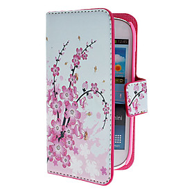 Mini Elegant Flower Pattern PU Leather Case with Magnetic Snap and Card Slot for Samsung Galaxy S3 mini I8190
