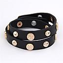 Punk Style Metal Button zweireihig Leder-Armband (verschiedene Farben)