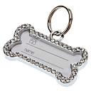 Hunde Schilder / ID Schilder Reflektierend / Strass / Knochen Silber Metall
