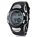 Men's Heart Rate Monitor Style Rubber Digital Automatic Wrist Watch with Electro Luminescent (Black) Cool Watch Unique Watch