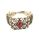 Vintage Alloy Zircon Hollow-out Flower Pattern Bracelet Christmas Gifts