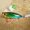 Trulinoya-Hard Mini Bait Big Popper 80mm/20g Fishing Lure with VMC Hook (Random Color)