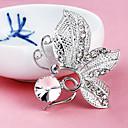 Women's  Butterfly Silver Plated Rhinestone Ball Brooch