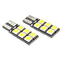 T10 2.5W 12x5050SMD 140-160LM 6000-6500K White Light LED Bulb for Car (DC 12V, 2-Pack)