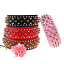 Dog Collar Rivet Red / Black / White / Brown / Pink / Gold Genuine Leather