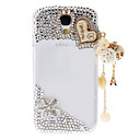 Rhinestone Transparent Pattern Hard Back Case with Pearl Tower for Samsung Galaxy S4 I9500