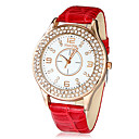 Women's Double Diamante Round Dial PU Band Quartz Analog Wrist Watch (Assorted Colors)