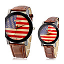 Couple's USA Flag Pattern PU Analog Quartz Wrist Watches (Assorted Band Colors)