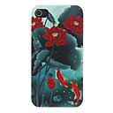 Chinoiserie Water Lily and Goldfish Swimming around Pattern Matte Designed PC Hard Case for iPhone 4/4S