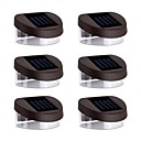 6pcs 2LED White Solar Lights Wall Stair Parapet Walkway Outdoor Deck Lamp